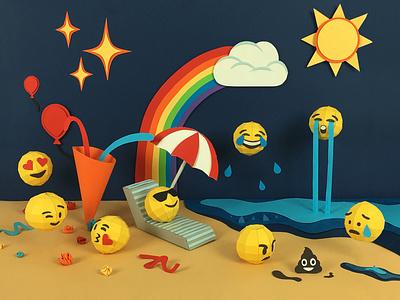 Collective Tendency 3d emoji set emoji set paper papercraft set design design