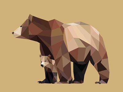Polygonal Bear Fam polygons polygonalvector cub bear brown design polygonal illustration graphic vector polygon