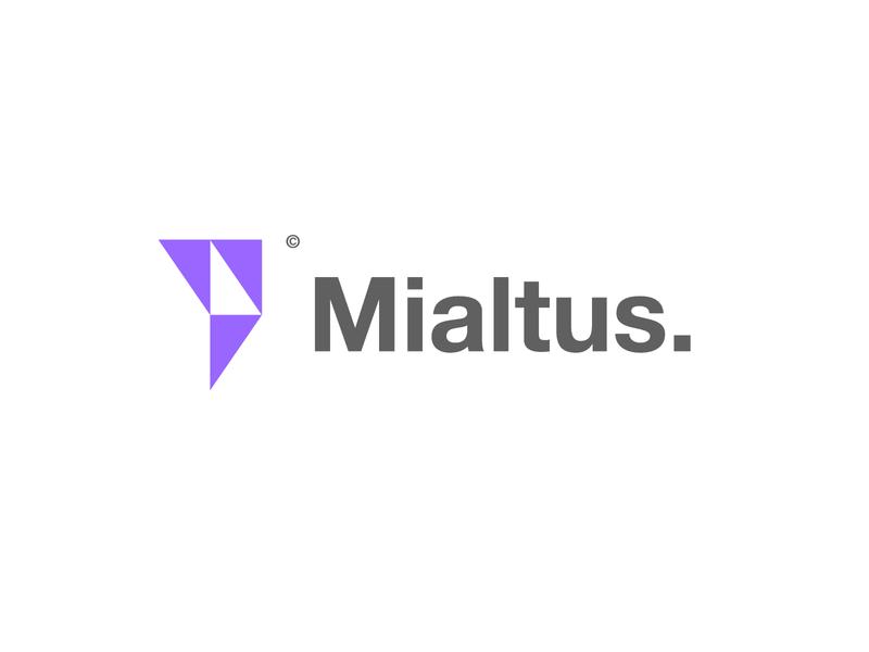 mialtus logo white purple minimalist logo wallstreet mark minimalism stock exchange triangle minimalist mialtus logo ui vector illustration challenge minimal illustrator icon branding logo design