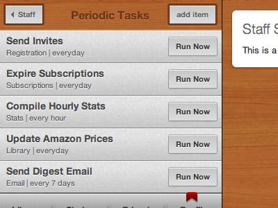 Shelfworthy | Staff | Periodic Tasks admin list wood gray button shelfworthy
