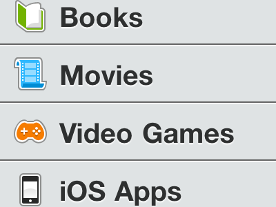 Item Types on the iPhone 4 iphone 4 icons media shelfworthy
