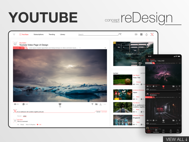 YouTube reDesign website web design mobile youtube video concept redesign interface web app ux ui design