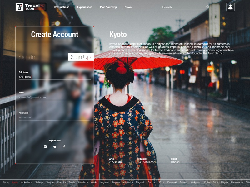 Concept Travel 2 Japan Website - Sign Up Page interface website design web design webdesign travel website minimal sign in login signup japan web ux ui design