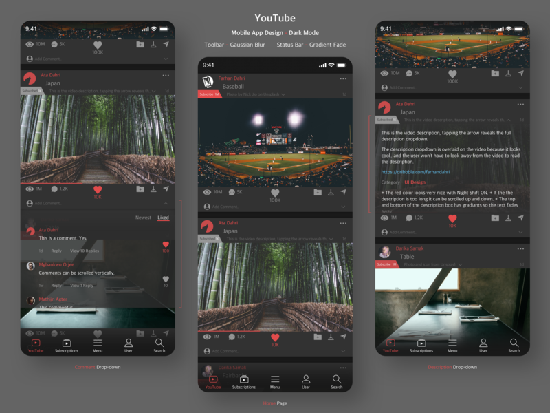 YouTube Mobile App Design - Home Page (Dark Mode) ux ui design youtube app mobile