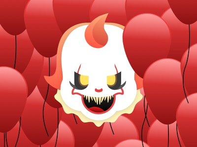 Pennywise - The Dancing Clown - Dribbble Weekly Warm-Up it balloon clown pennywise dribbbleweeklywarmup warmup vector art artwork vector sketchapp minimal illustration flat design