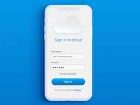 Cloud save login screen
