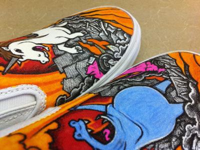 Hippo & Unicorn Custom Vans custom vans slip-ons hippo unicorn apocalypse illustration