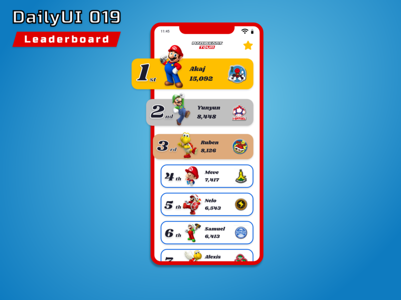 #DailyUI 019 - Leaderboard