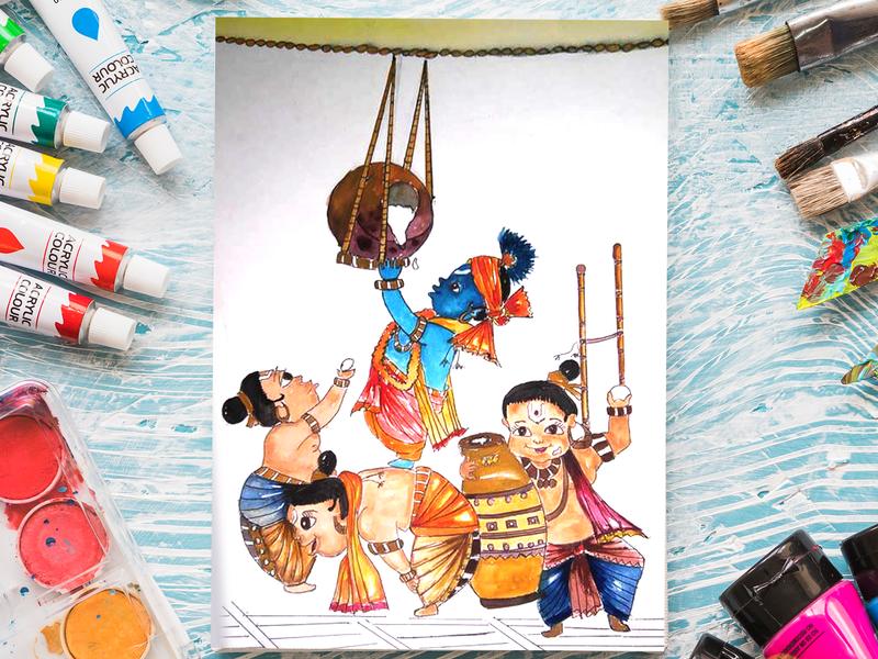 Govinda - Makan Chor - Acrylic Color Painting acrylic painting character illustration design creative artwork art 2d