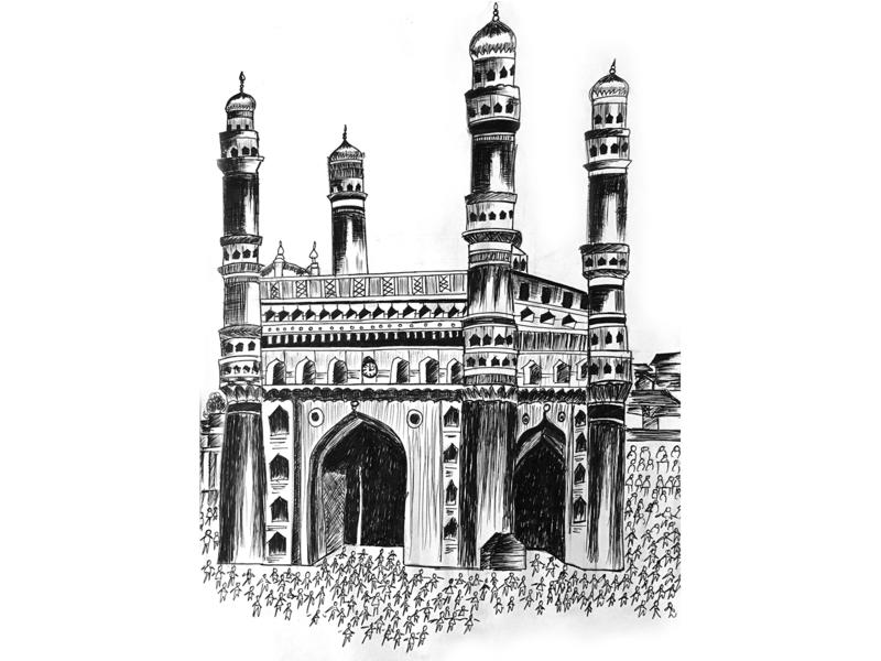 Char Minar Sketch monument sketch branding illustration design creative artwork art 2d