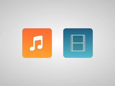 Audio & Video Icons design movie film vector note music video audio icon