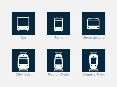 Public Transport Icons subway underground bus tram train public transport public transportation vector icon icons