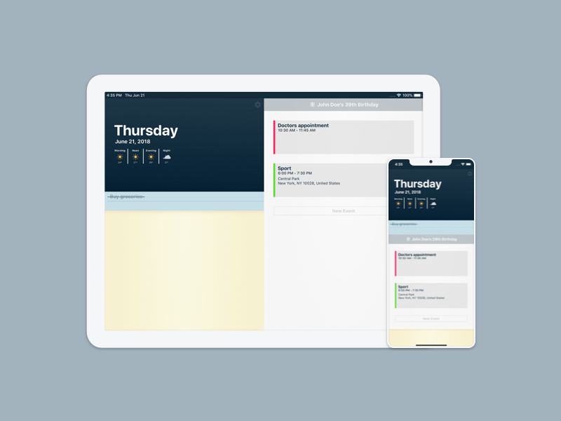Heute weather notes reminders events calendar ui interface ipad iphone ios app design