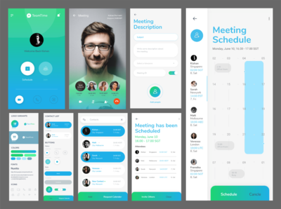 TeamTime - Video Meeting Schedule App - UI Visual Design video call meeting app interface design interaction design ui design