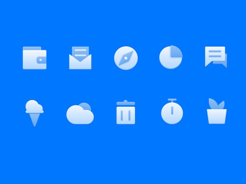 Blue Icon design、ui、icon、sketch