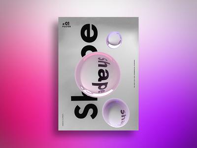 Shape minimal poster 4d cinema 3d bubble shape
