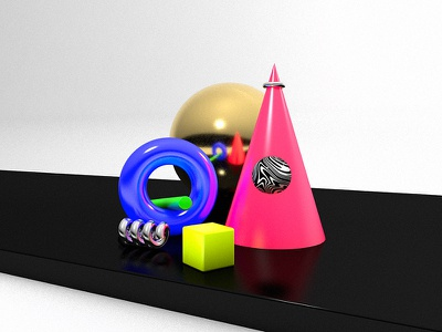 Solid objects 3d shapes abstract c4d