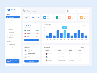 Galucter - Manufacturing Dashboard Design graphic web design designer dribbble white cost blue clean ui dashboad manufacturing logo ux typography website flat minimal web app ui design