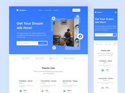 Adagawe - Job Finder Landing Page Design web design website designers website design dribbble designer page landing finder job branding vector typography icon web ux flat ui minimal design