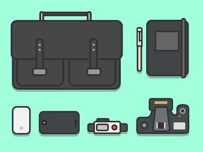 Flat Desk Items color flat  design adobe flat vector illustration illustrator design