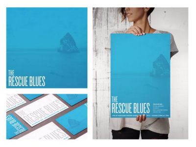 Rescue Blues Rock Band Identity rock ocean charleston band music collateral print design brand texture typography logo color model album cover posters business cards identity branding