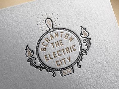 "Scranton ""The Electric City"" flourish flames pennsylvania vector icon typography illustration brand identity adobe logo illustrator design black and gold black the office scranton seal letterpress"