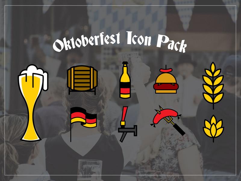 Oktoberfest Downloadable Vector Icon Pack german stein glass bottle tap leaf hop keg illustrator illustrations vector sausage hamburger flag beer icons germany oktoberfest