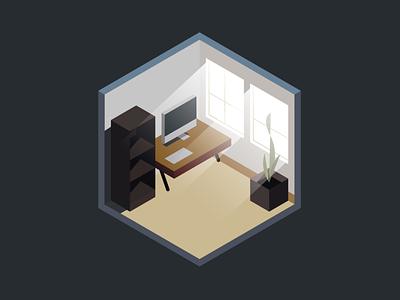Isometric Office vector window plant desk computer color illustration design illustrator lowpoly polygon office isometric