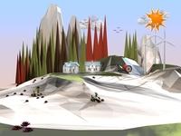 Cartoon Landscape Low Poly