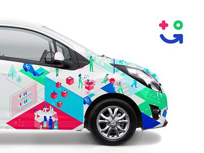 Car visualization isometria isometric car vector illustration branding