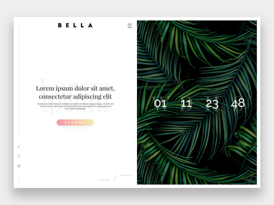 Bella | Home layout comingsoon countdown exercise ux ui