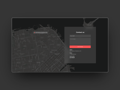 Daily Ui #028 dark map map dark ui 028 day 28 reach us contact us dark theme interface ux daily 100 challenge dailyuichallenge daily ui ui