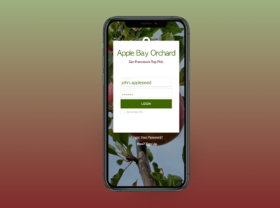 Apple Bay Orchard Login Page ui mobile web design mobile app design figma mockup