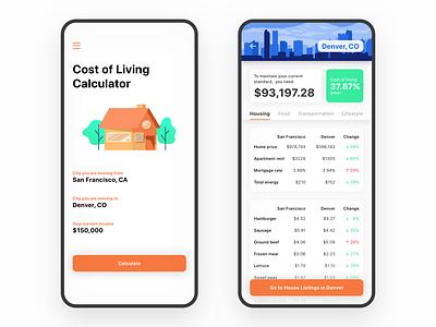 Cost Living Calculator real estate illustration apple list ios design mobile app ui ux