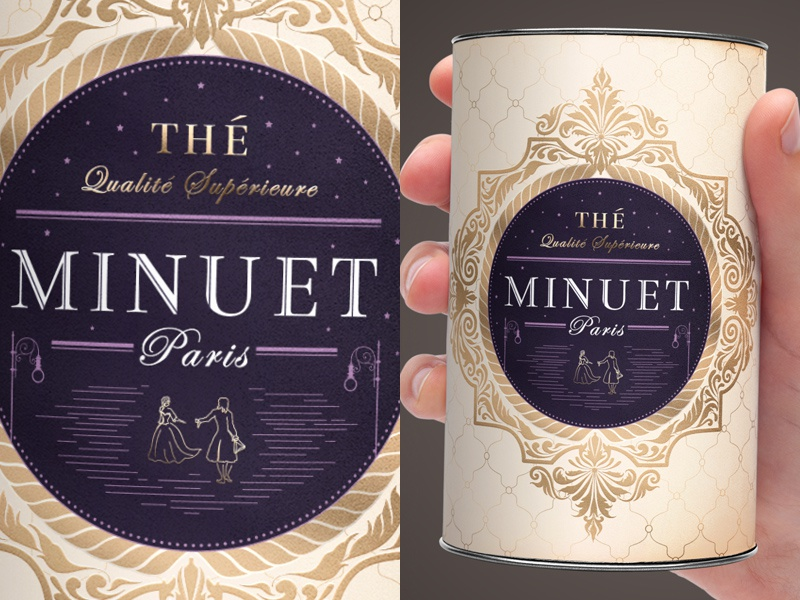 Tea Packaging packaging packaging design typography lettering luxury tea can gold purple