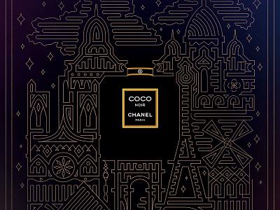 Chanel Poster Ad stars illustration graphic design advertising ad poster print paris chanel design perfume luxury