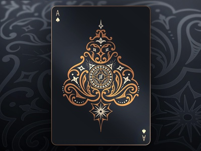 Ace of Spades black gold cooper decorative illustration packaging magic card playing cards spades ace of spades ace
