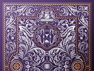 Card Back Design gold white purple flowers back card back board board games playing cards cards playing