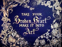 """Take your broken heart make it into art"" star wars carrie fisher fairy intricate motivation quote gold painting type calligraphy design poster"