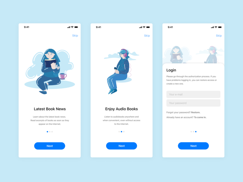 App-design and Illustrations for BookBlog booking branding illustration art book ui web  design app illustration vector figma design