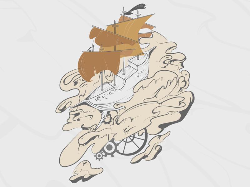 Steampunk ship - art (n.01) steampunk ship illustrator ship steampunk branding art illustration vector design