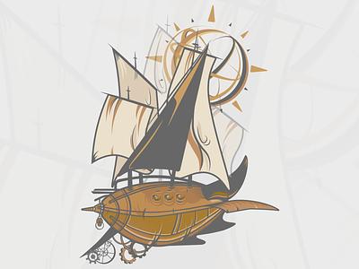 Steampunk ship - art (n.02) vector steampunk ship steampunk ship illustrator illustration design branding art