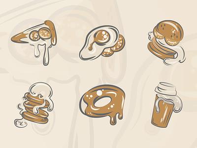 Set of illustrations for restaurant application illustrator illustration art shop branding app art illustration figma vector design