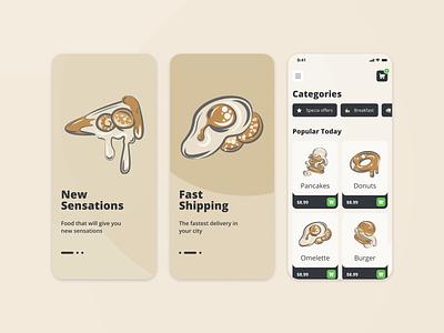 Restaurant app-design app design illustrator food illustration food restourant art illustration web  design ui figma design vector