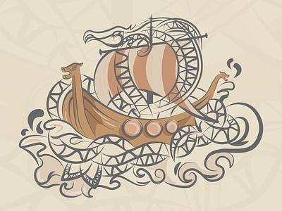 Drakkar illustration scandinavia vikings drakkar illustrator art illustration design vector