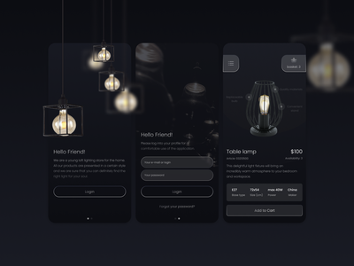 Loft lamps shop UI Design lamp app design ui web  design branding app loft shop art glassmorphism figma design