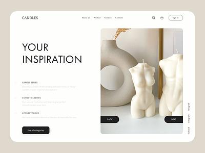 Minimalistic Candles & Womens Merchandise Website candels shop candels ui vector branding web  design shop art figma design minimalism graphic design