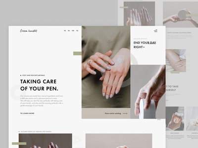Hand cream shop website design. hand care products hand cream for woman graphic design web  design ui figma design