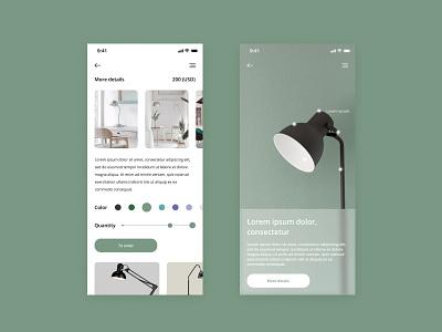 App store selling branded lamps app design app lamps designer shop ui web  design vector photoshop figma design