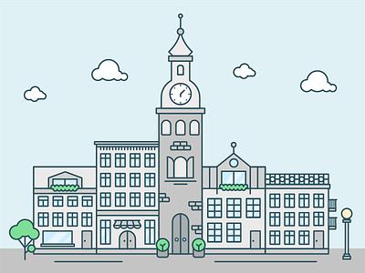 Quarter debute vector tree city building illustration
